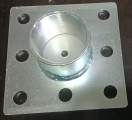 "27001050 Heavy duty base plate 150x150x6 with 8 holes 16,5mm and 2"" socket connection Heavy duty base plate 150x150x6 with 8 holes 16,5mm and 2"" socket connection